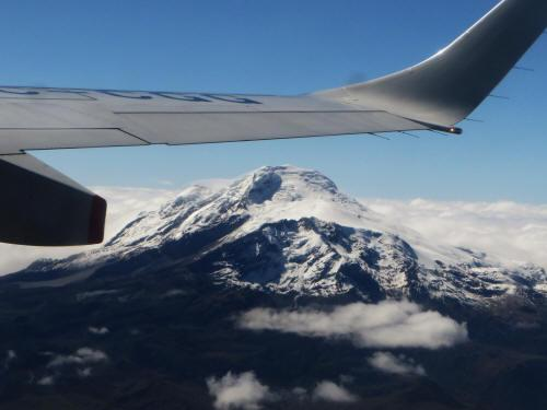 Cayambe Volcano seen from the flight to Lagoagrio.