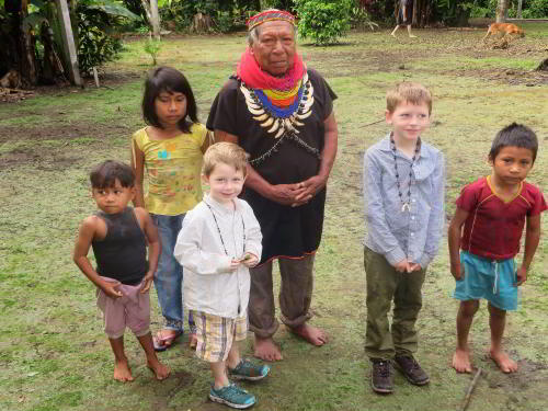 Cuyabeno Fauna Reserve Ecuador: Cofan shaman with village children.