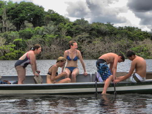 Cuyabeno Fauna Reserve Ecuador: Swimming at the Cuyabeno Lake during your Amazon visit in Ecuador