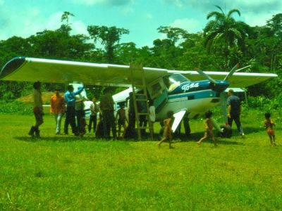 COFAN TRIBE HISTORY: Amazon huarani airstrip. FAO natural areas exploration, 1975 slide scan