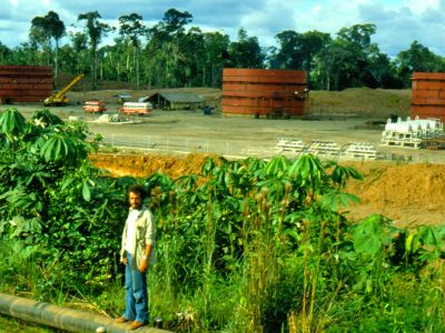 COFAN TRIBE HISTORY: The new oil exploitation service town Tarapoa in 1983.