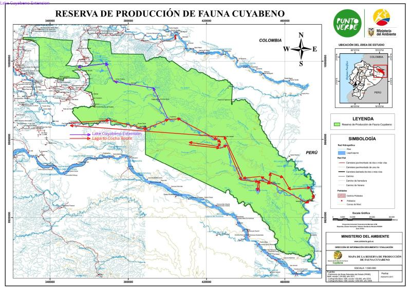 6 BESTE REISEN CUYABENO NATURSCHUTZGEBIET / NATURRESERVAT: Detailed map Cuyabeno Wildlife Reserve with route.
