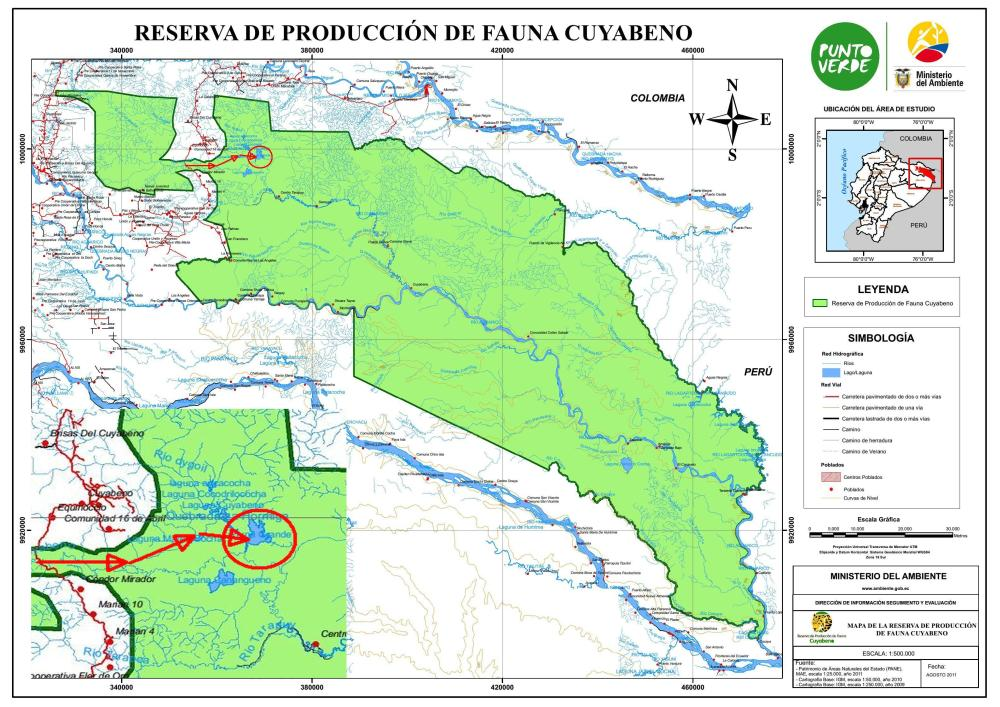 DSCHUNGEL REISEN, ECUADOR: Detailed map Cuyabeno Wildlife Reserve with route.