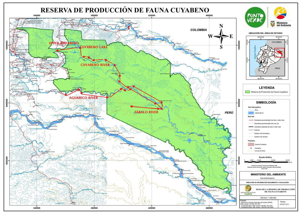 CUYABENO WILDLIFE RESERVE TOUR [AMAZON ECUADOR]: Official map of the Cuyabeno Wildlife Reserve.
